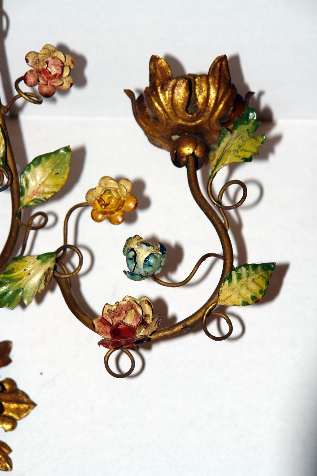 Floral Metal Wall Sconces : Pair of Floral Gilt Metal Sconces at 1stdibs