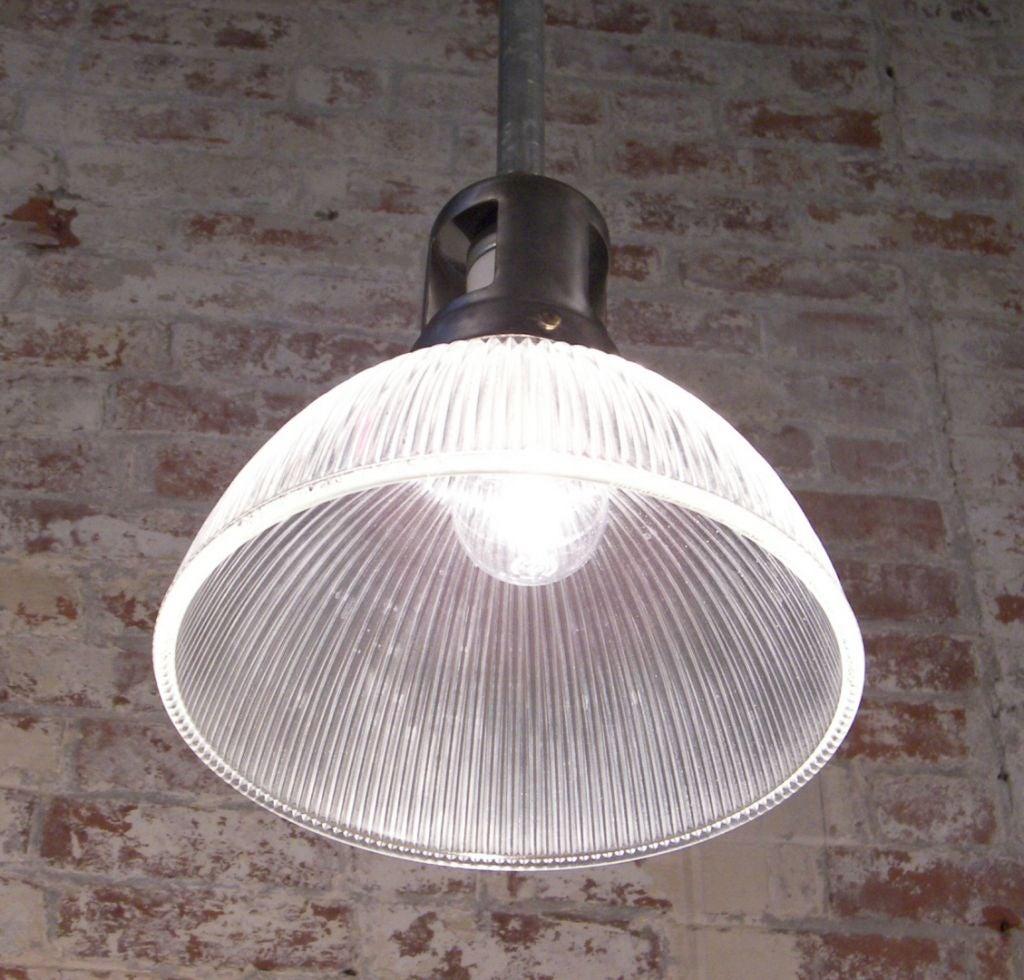 Pendant Light Sale: Vintage Industrial Holophane Glass And Steel Ceiling