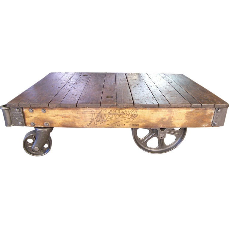 Industrial Coffee Table On Wheels At 1stdibs: Industrial Cast Iron And Wood Nutting Cart / Table At 1stdibs