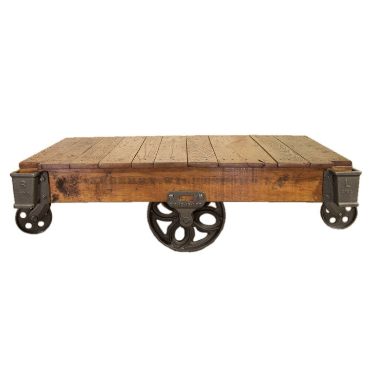 Vintage Cast Iron And Wood Linberry Factory Rolling Cart Coffee Table For Sale At 1stdibs