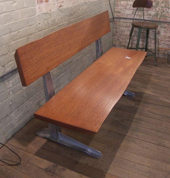 Free Form Mahogany Bench With 1950 S Aluminum Park Bench