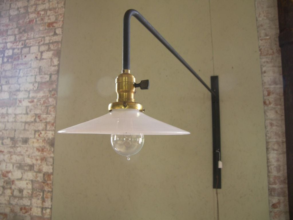 Vintage Industrial Mid-Century Modern Swing out Steel Milk Glass Wall Lamp Light For Sale at 1stdibs