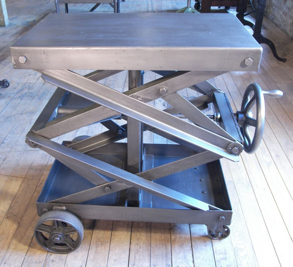 Coffee Table With Adjustable Height Lift Top: Industrial Adjustable Scissor Lift Table At 1stdibs