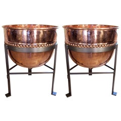 Pair of Vintage Industrial Copper Kettles