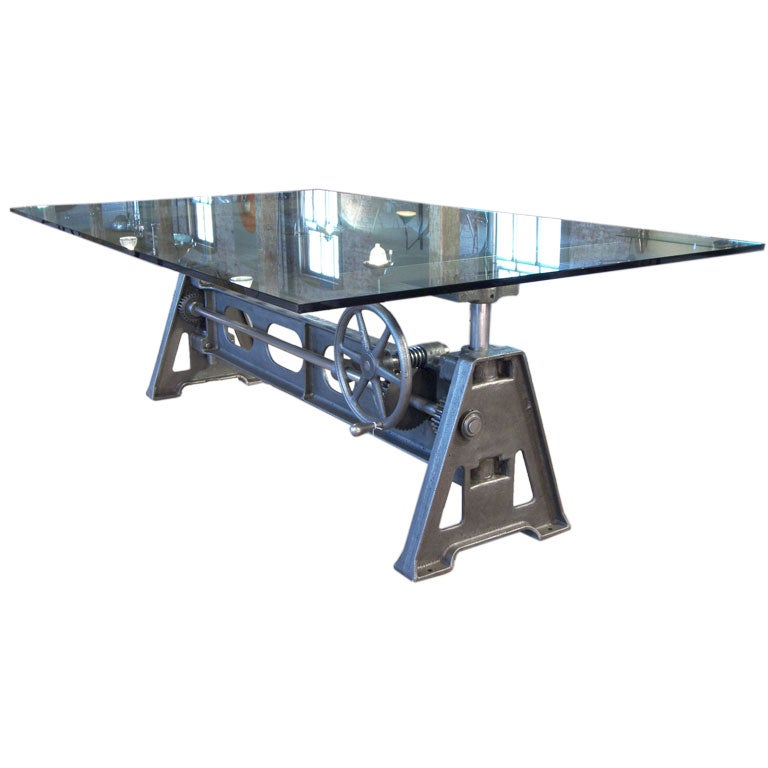 Adjustable industrial cast iron and glass table at 1stdibs for Cast iron table with glass top