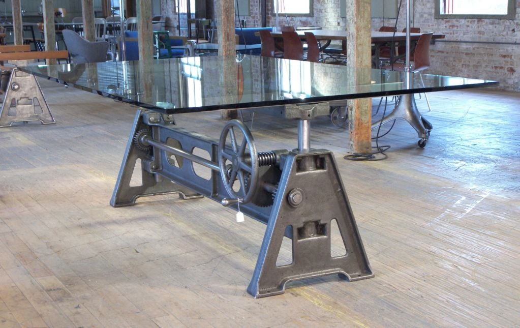 Industrial Dining Table Vintage Cast Iron Glass Adjustable Conference 2