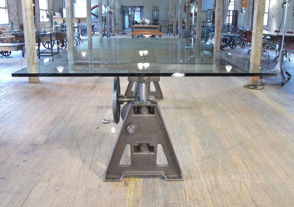 Stunning Dining Table Vintage Cast Iron Glass Adjustable Industrial Conference 3