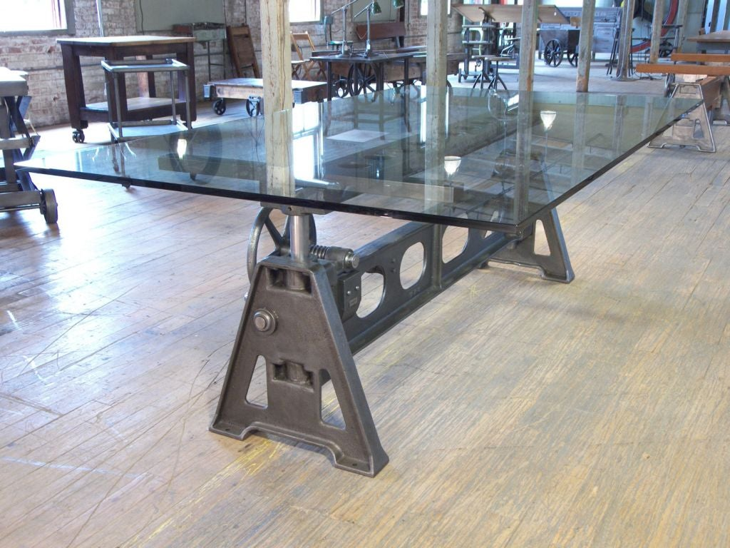 Adjustable Industrial Cast Iron and Glass Table at 1stdibs : getbackotable4 from 1stdibs.com size 1024 x 768 jpeg 147kB