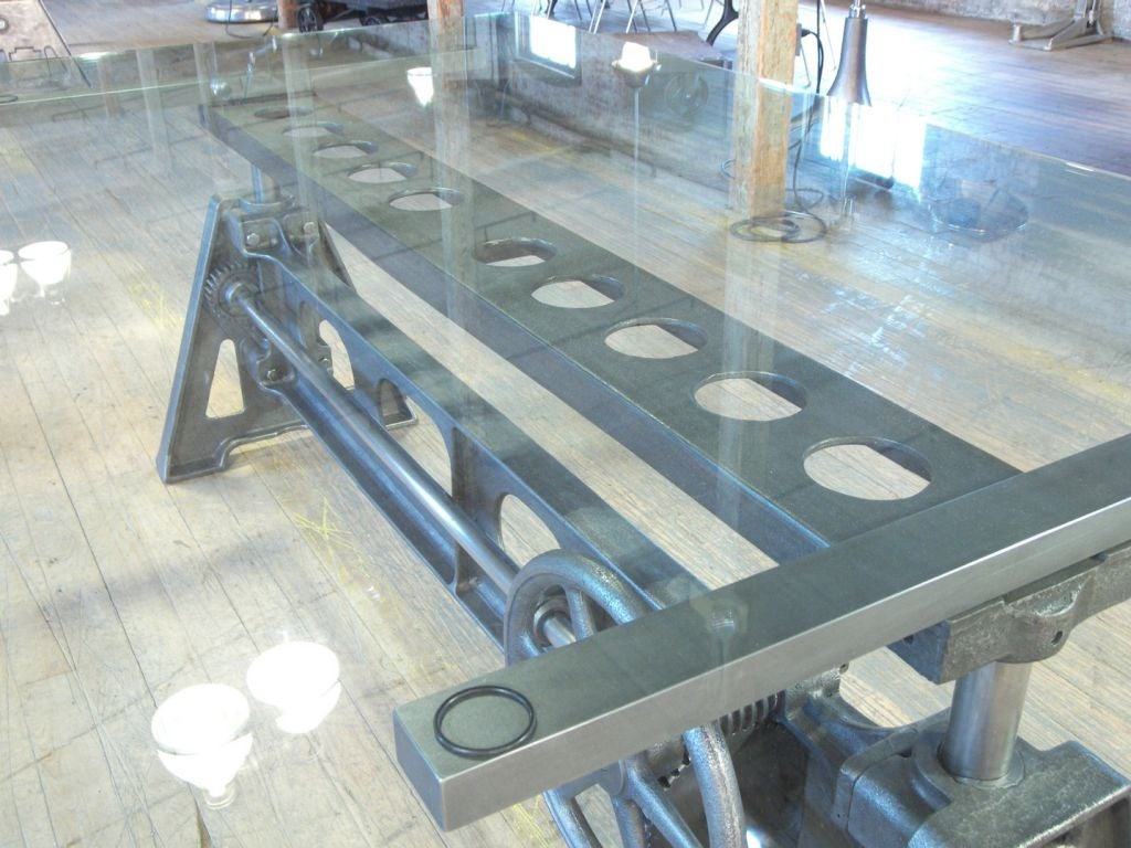 Stunning Dining Table Vintage Cast Iron Glass Adjustable Industrial Conference 6