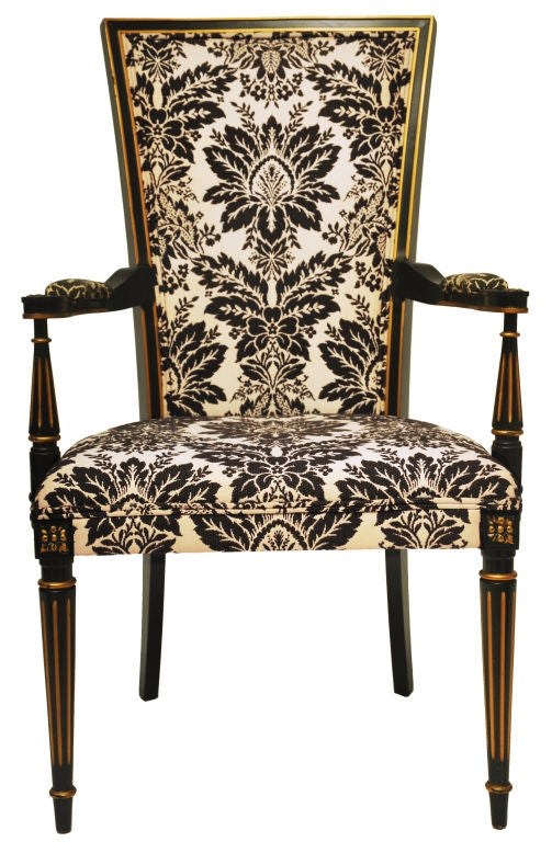 black and white arm chair at 1stdibs. Black Bedroom Furniture Sets. Home Design Ideas