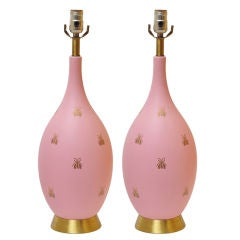 BEAUTIFUL PAIR OF PINK AND GOLD BEE LAMPS thumbnail 1