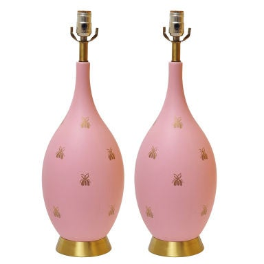 BEAUTIFUL PAIR OF PINK AND GOLD BEE LAMPS