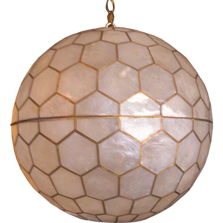 huge capiz shell with brass 1960s hanging light at 1stdibs. Black Bedroom Furniture Sets. Home Design Ideas