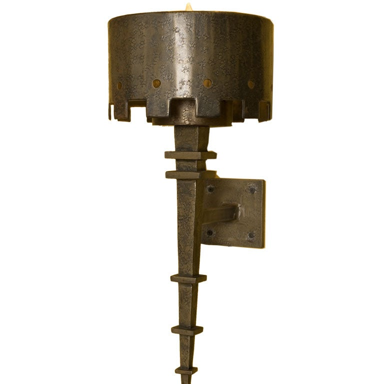 Forged Metal Torchier Sconces at 1stdibs
