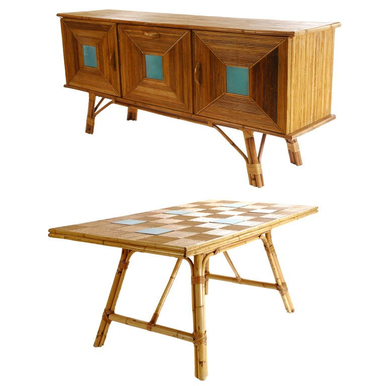 this rattan and tile buffet and dining table is no longer available