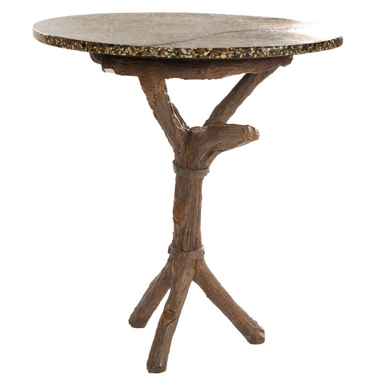 Faux bois side table at 1stdibs Table jardin imitation bois