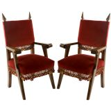Pair of Walnut Neo-Gothic Style Arm Chairs