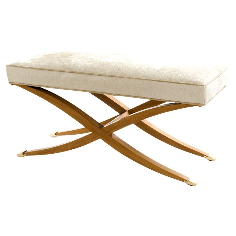 Re Issue X Leg Bench In Creamy White Hair On Hide At 1stdibs