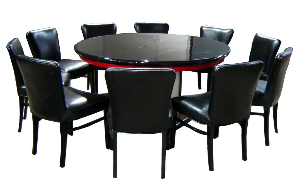 Paul Frankl American Art Deco Dining Table And Ten Chairs At 1stdibs