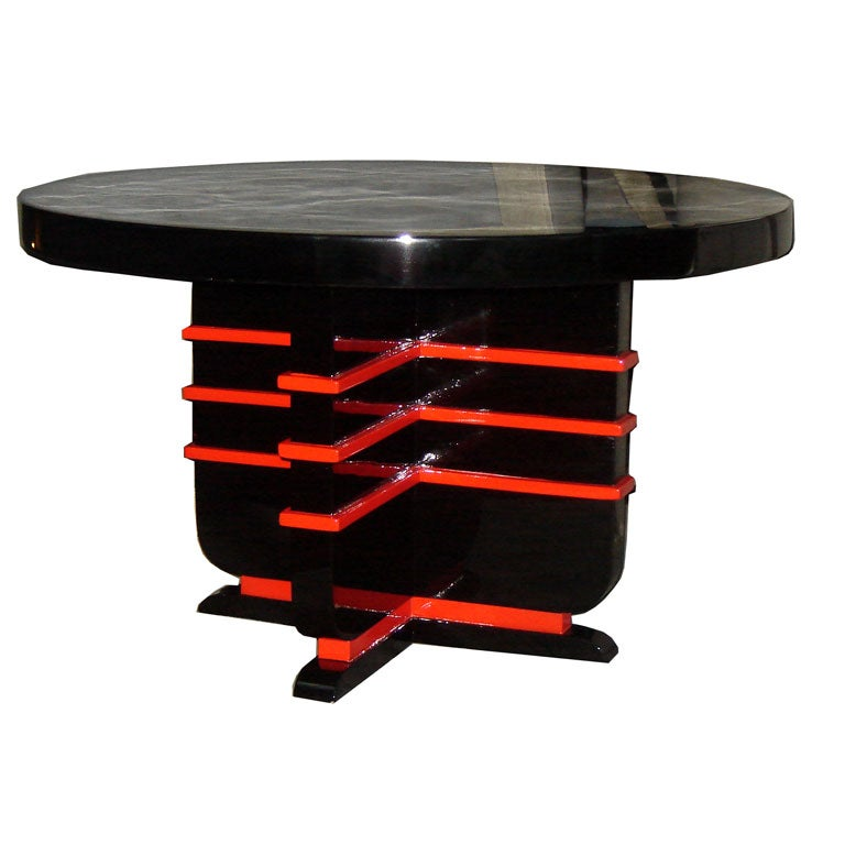 black lacquer and red coffee table at 1stdibs