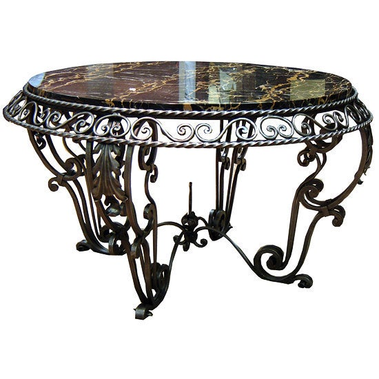 french art deco wrought iron and marble coffee table at