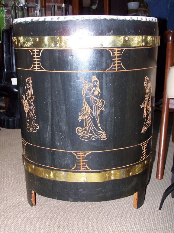 Black Laquer Oriental Drum Table At 1stdibs