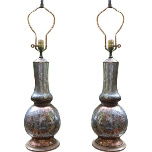 this pair of hand hammered copper table lamps is no longer available. Black Bedroom Furniture Sets. Home Design Ideas