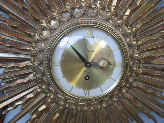 vintage syroco sunburst wall clock 8day jeweled 3