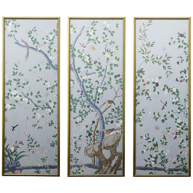 Hand painted chinoiserie wallpaper panels at 1stdibs for Wallpaper sheets for sale