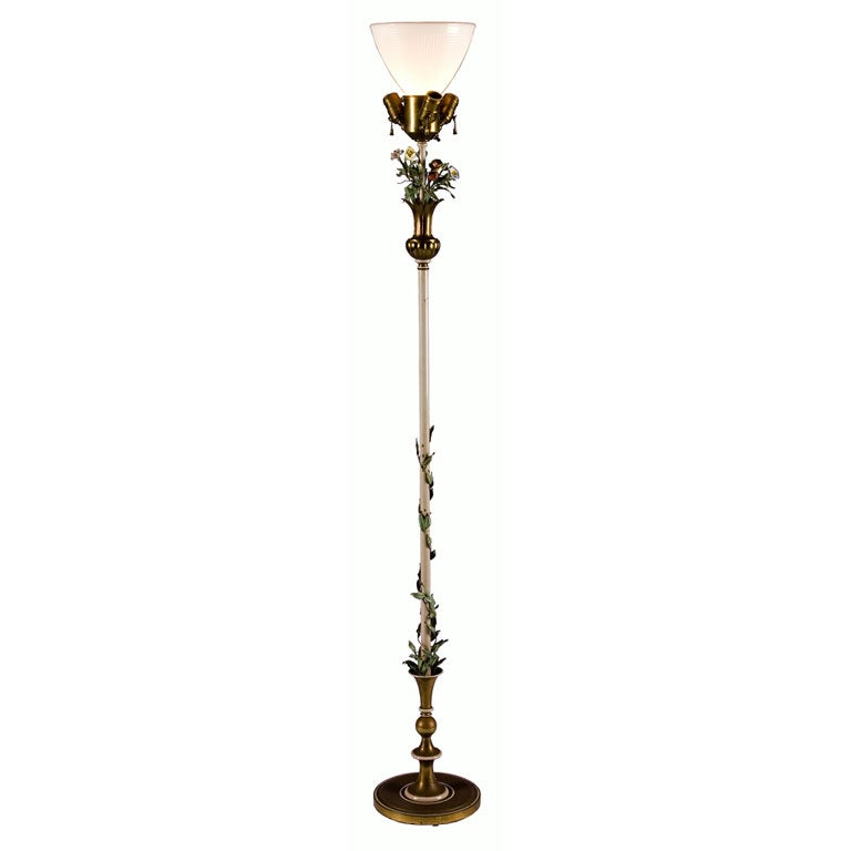 1920 39 s floor lamp with porcelain flowers at 1stdibs for 1920 floor lamp