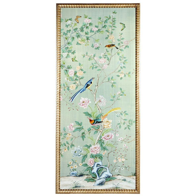 De Gournay Hand Painted on Silk Gilt-wood Framed Panel