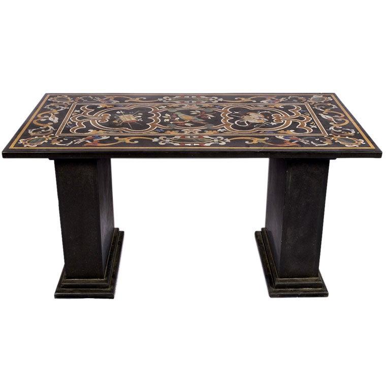 Italian Pietra Dura Inlaid Marble Table
