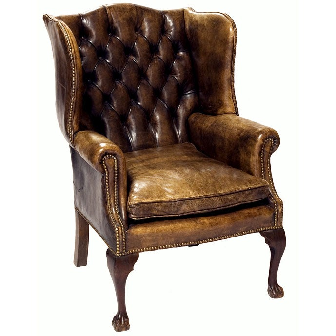 edwardian leather wingback armchair at 1stdibs. Black Bedroom Furniture Sets. Home Design Ideas
