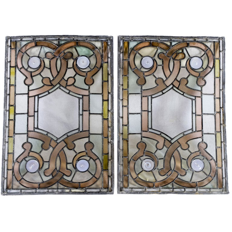Pair of Mid-19th Century Stained Glass Panels