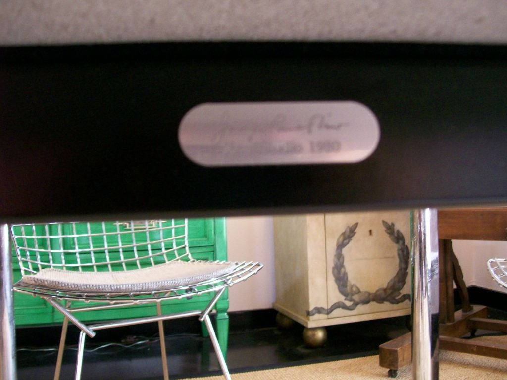 20th Century Joe D'urso Table in Polished Black Granite For Sale