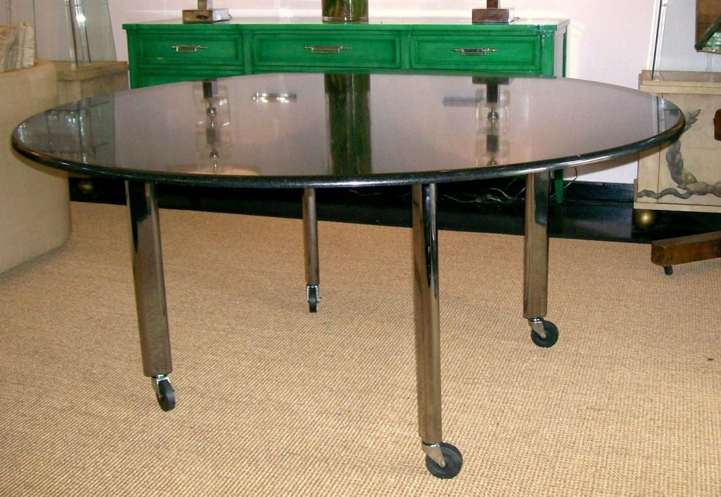 American Joe D'urso Table in Polished Black Granite For Sale