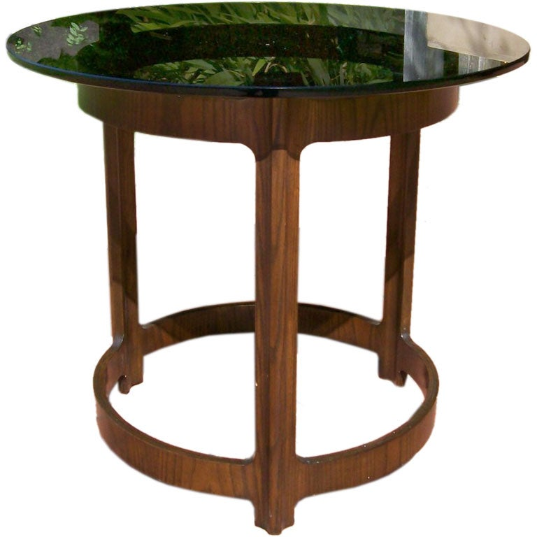 Dunbar Round Side Table In Walnut And Smoked Glass At 1stdibs