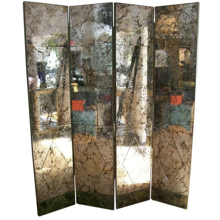 A Four Panel Old And Distressed Mirrored Screen For Sale