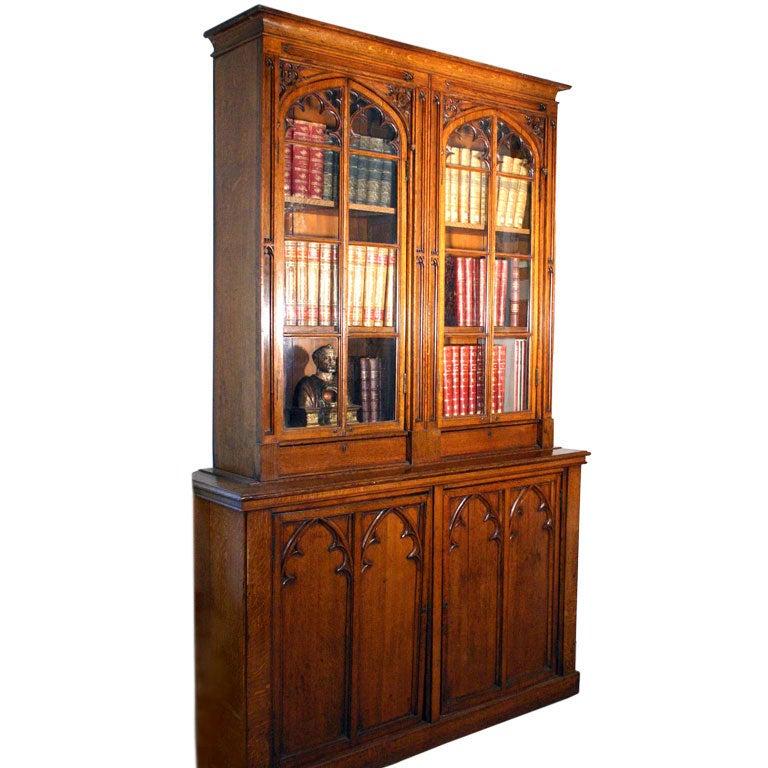 Fine American Faded Oak Gothic Revival Breakfront Cabinet For Sale ...