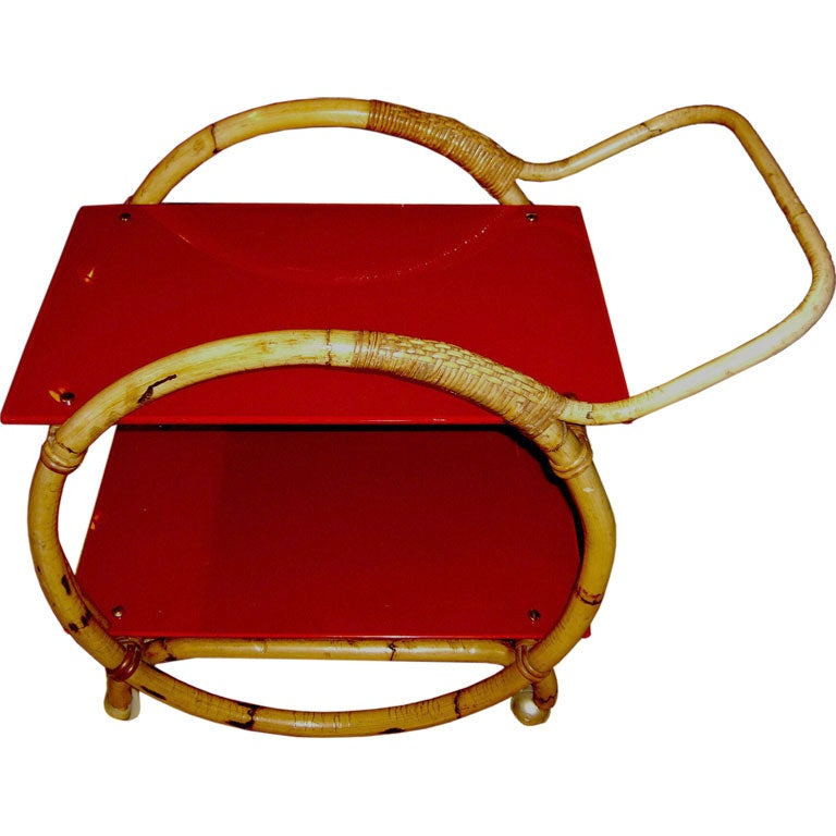 Italian Bamboo & red glass tea cart in the manner of Gio Ponti