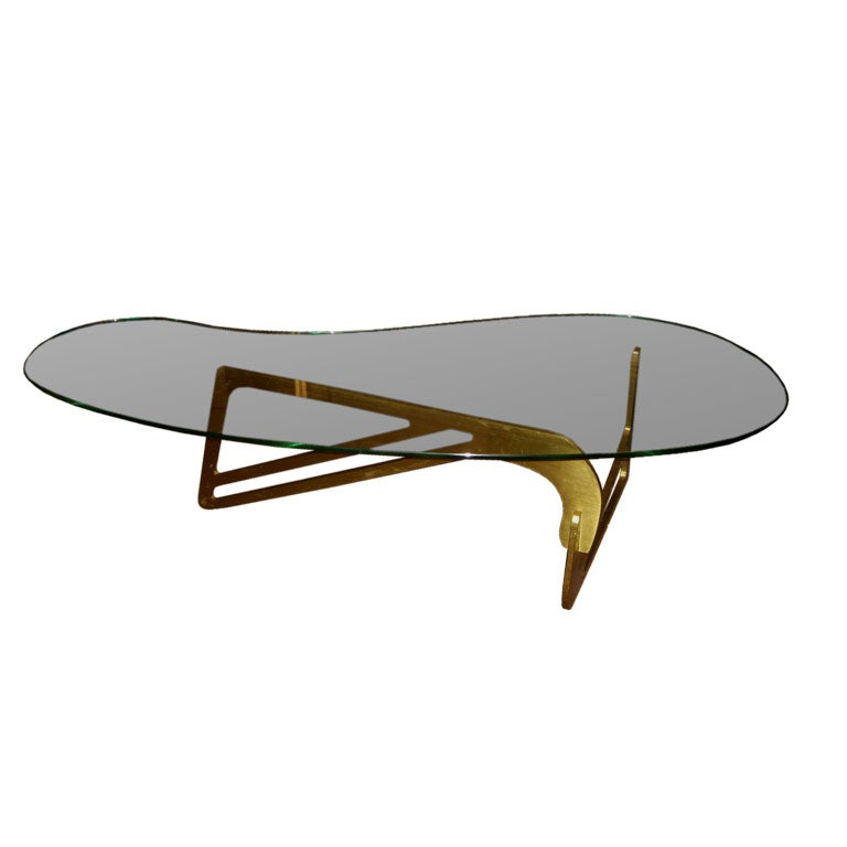 Mid Century Modern Coffee Table With Planter: Mid Century Modern Bronze And Bimorphic Glass Top Coffee