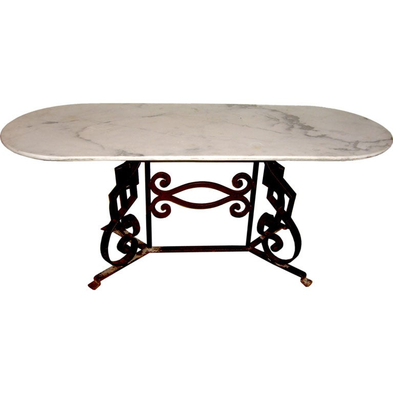 Great White Carrera Marble Top Console Sofa Table With