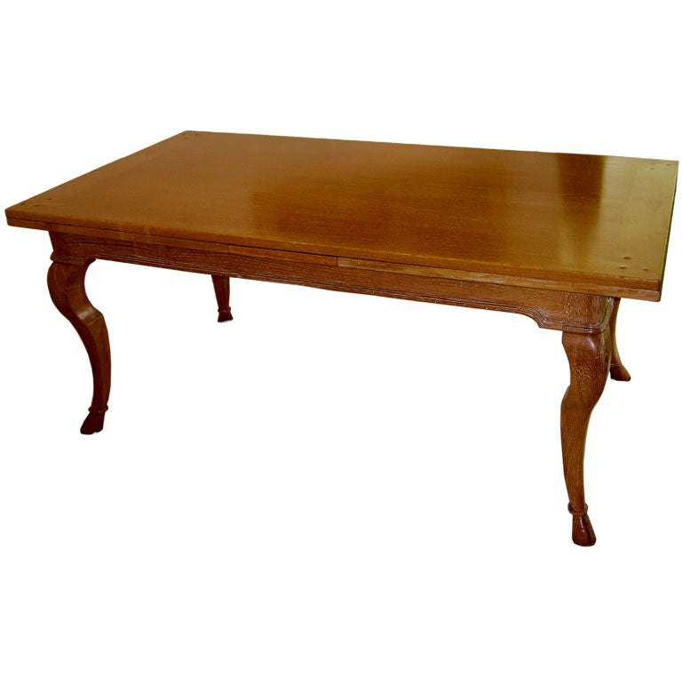A limed oak dining table w hoof feet the manner of andre arbus at 1stdibs - Limed oak dining tables ...