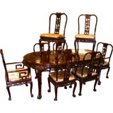 Chinese Huang Huali nicely carved Dining set with eight chairs