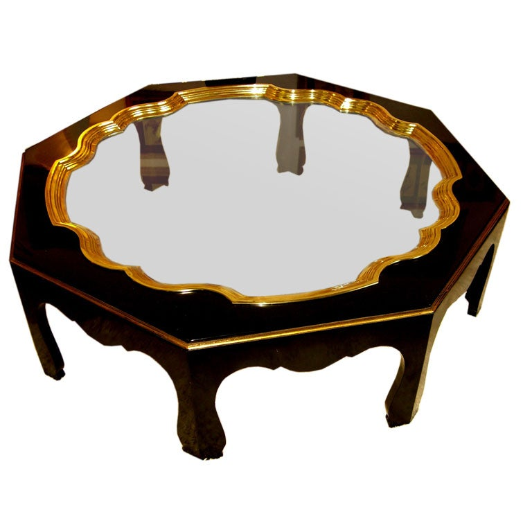 John Stuart Black Lacquer Brass Insert And Glass Coffee Table At 1stdibs