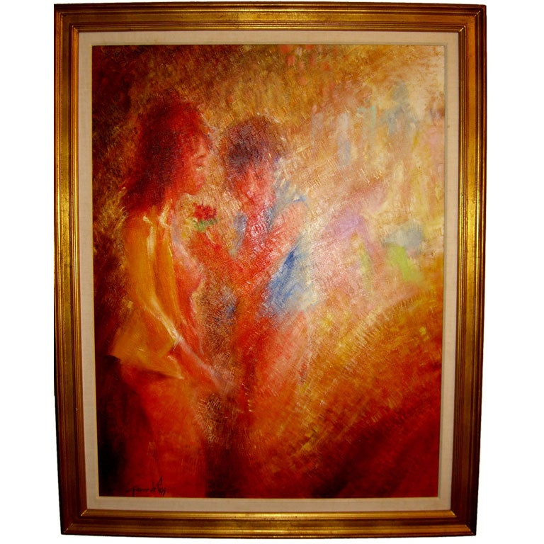 Large Oil On Canvas By The Noted Artist Giacomo De Pass At