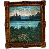 Nice Heavy impasto landscape oil on canvas painting L. Capitano