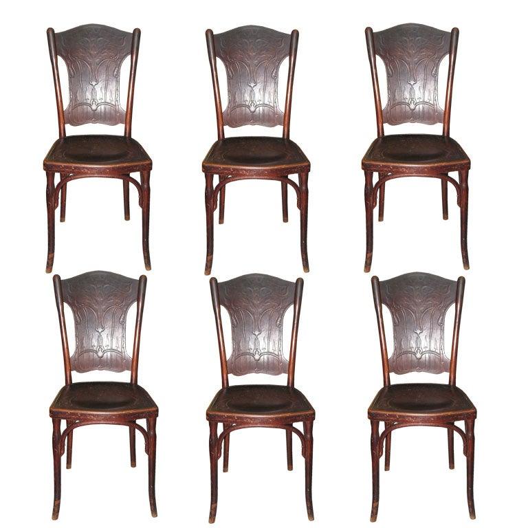 Six Austrian Bentwood Chairs Signed J J Kohn Thonet For
