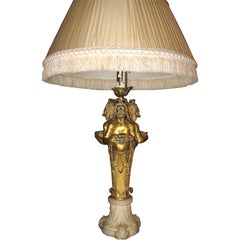 Doré Bronze and Marble Lamp Attributed to Caldwell