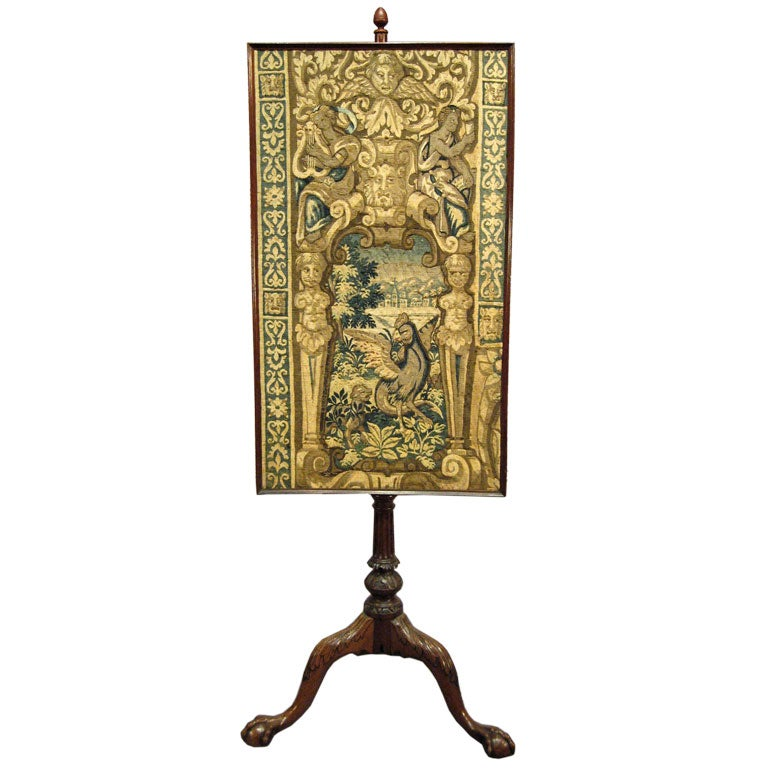 George Iii Mahogany Pole Screen With Early Tapestry C